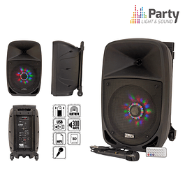 "COLUMNA AMPLIFICADA 8 ""300W USB / FM / BT / SD / BAT NEGRO - PARTY 8"