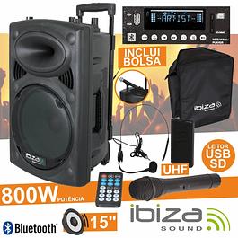 AMPLIFICADA 15 '' 800W USB / BT / SD / UHF BAT NEGRO - IBIZA