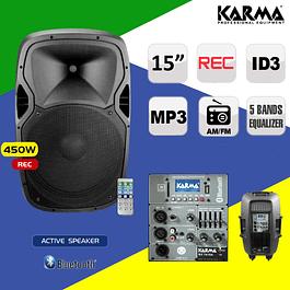 COLUNA ATIVA 15' 450W BI-AMPLIFICADA USB/FM/BT/SD/REC KARMA