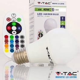 LÂMPADA LED E27 RGB+W 6W 6000K E RGB C/ COMANDO