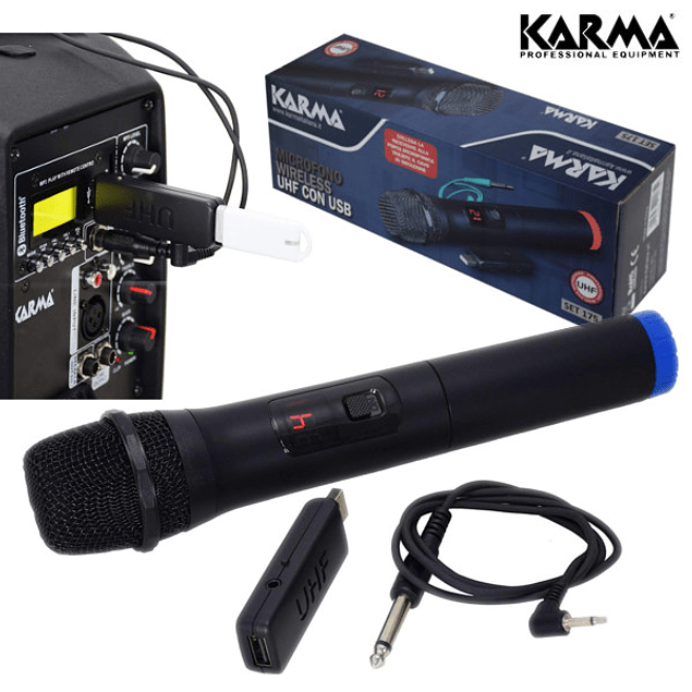 MICROFONE DE MÃO S/FIOS + RECEPTOR UHF USB KARMA