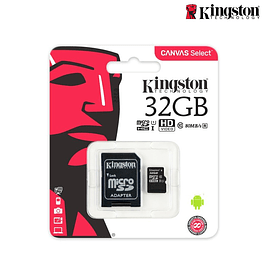 MICROSD KINGSTON HC + ADAPTADOR CLASSE 10 32GB 80MB/S