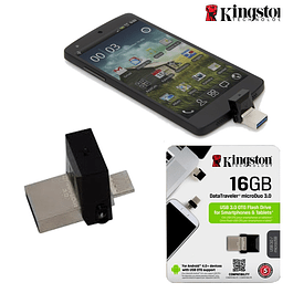 PEN DRIVE DATATRAVELER MICRO DUO  OTG 16GB USB 3.0 KINGSTON