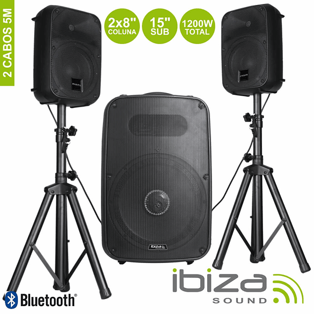 CONJUNTO SOM BI-AMPLIFICADO USB/SD/MP3 1200W IBIZA