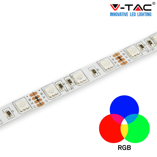 Fita LED 9,6W/m RGB SMD5050 60LEDs/m 12V IP20