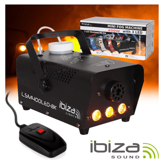 SMOKE MACHINE 400W C / 3 LEDS 3W AND BLACK COMMAND IBIZA