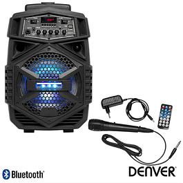 "COLUMNA AMPLIFICADA 8 ""USB / FM PLL / BT / SD / BAT LEDS NEGRA DENVER"