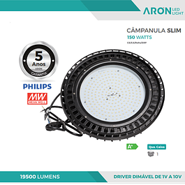CAMPÂNULA INDUSTRIAL LED SLIM 150W 5000K 19500Lm DIMÁVEL