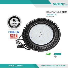 CAMPÂNULA INDUSTRIAL LED SLIM 200W 5000K 26000Lm DIMÁVEL