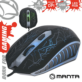 OPTICAL MOUSE 800/1800 DPI USB P / GAMING LED RGB MANTA