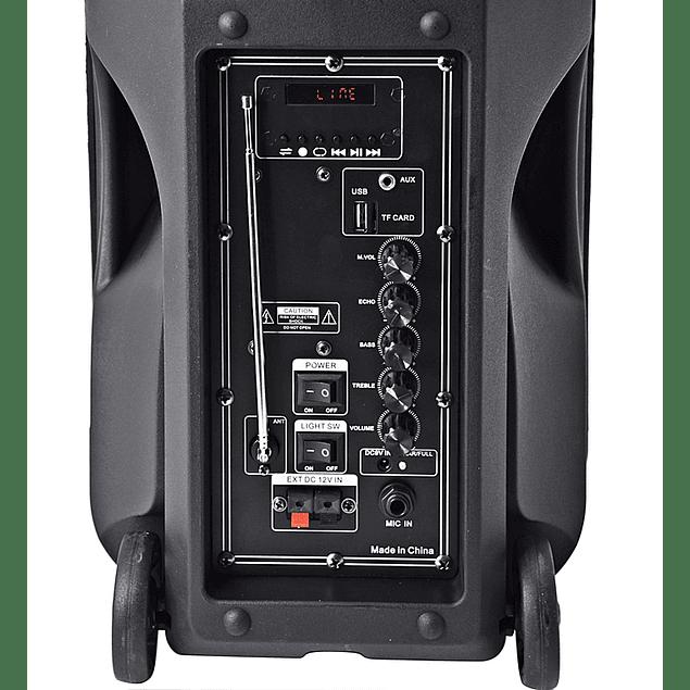 COLUNA PORTÁTIL 10″ 500W PMPO USB/SD/BT/BAT/FM + 1 MICROFONE VHF