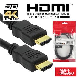 CABO HDMI DOURADO MACHO / MACHO 2.0 4K PRETO 2M