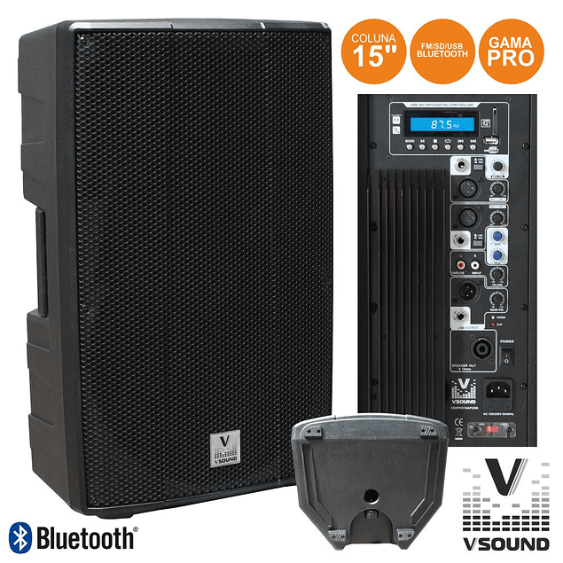 "PRO 15 ""AMPLIFIED SPEAKER USB / SD / FM / BLUETOOTH 600W VSOUND"