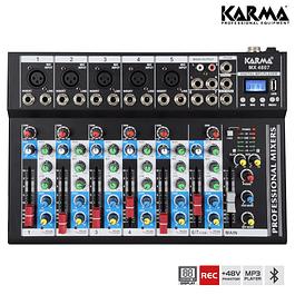 Mesa de mezclas de 7 canales USB / MP3 / REC / BT / FM - KARMA