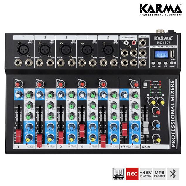 7 Channel USB / MP3 / REC / BT / FM Mixing Desk - KARMA