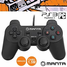 COMANDO PARA PS3 / PC COM VIBRAÇÃO MANTA