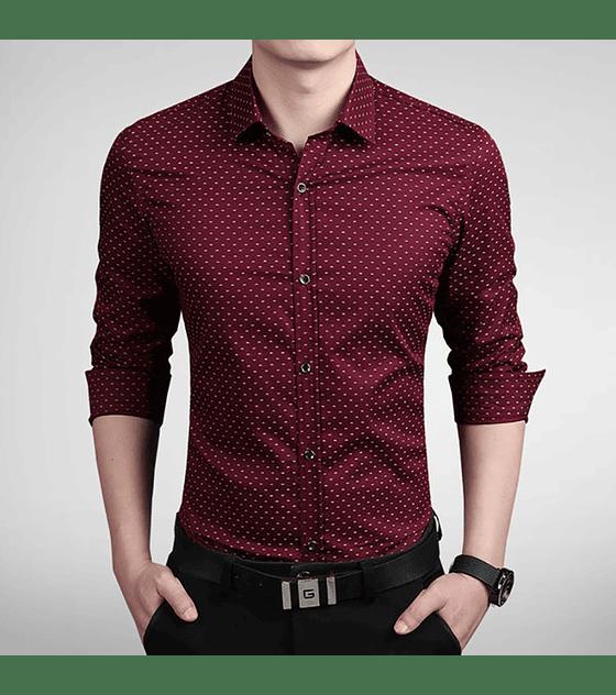 Camisa Slim fit Burdeo con diseño