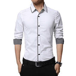 Camisa Slim fit Blanca con broches