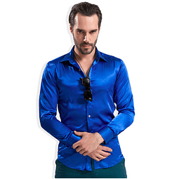 Camisa Slim Fit Azul Metalizado