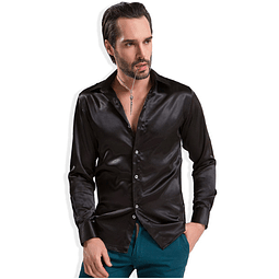 Camisa slim fit Negro Metalizado