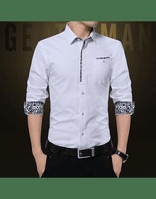 Camisa Slim fit Blanca/ diseño en puños