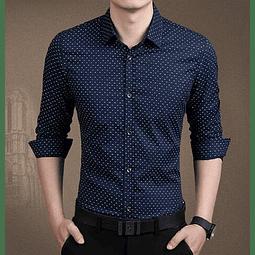 Camisa Slim fit Azul con diseño