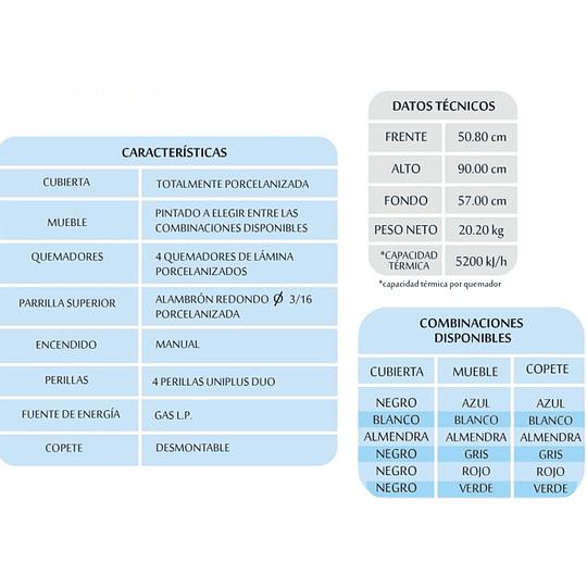 ESTUFA 4 QUEMADORES EN ROJA P225