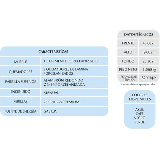 PARRILLA DE MESA 2 QUEMADORES P802