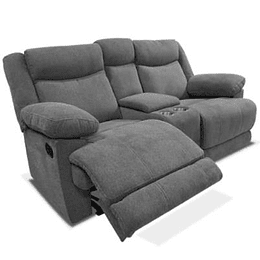 LOVE SEAT CON 2 RECLINABLES Y CONSOLA COLOR GRIS OXFORD BURGOS