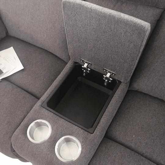 LOVE SEAT CON 2 RECLINABLES Y CONSOLA COLOR GRIS OXFORD BURGOS