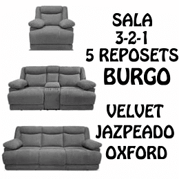SALA 3-2-1 CON 5 RECLINABLES COLOR GRIS OXFORD BURGOS