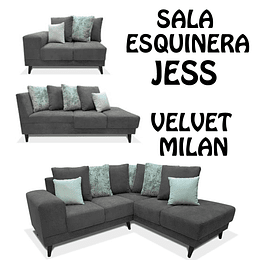 SALA ESQUINERA COLOR GRIS OXFORD JESS