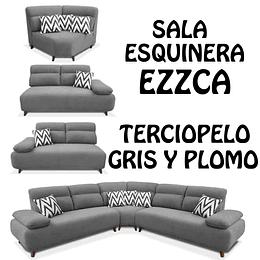 SALA ESQUINERA COLOR GRIS EZZCA