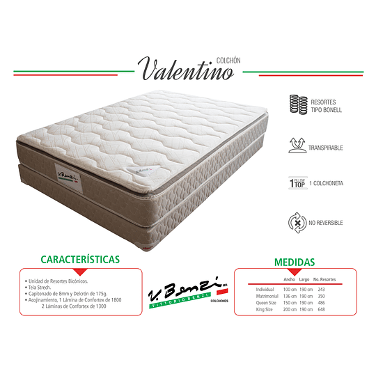 COLCHON VALENTINO PILLOW TOP