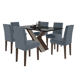 Comedor Rectangular 6 Sillas Giovanna