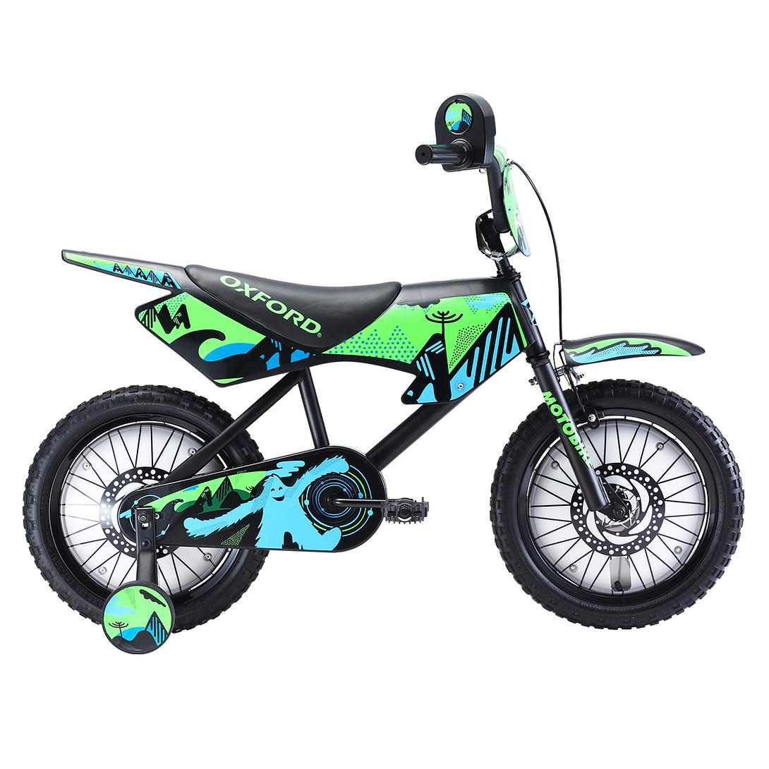 BICICLETA NIÑO ARO 16 MOTO BIKE 1V NEGRO/VERDE BM1647