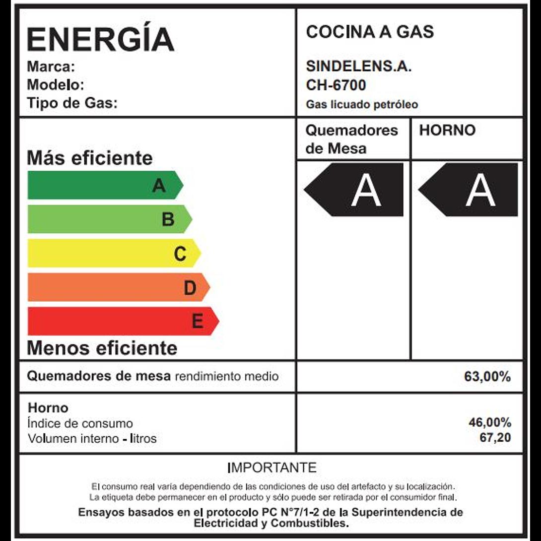 COCINA A GAS 4Q CH-6700IN SINDELEN