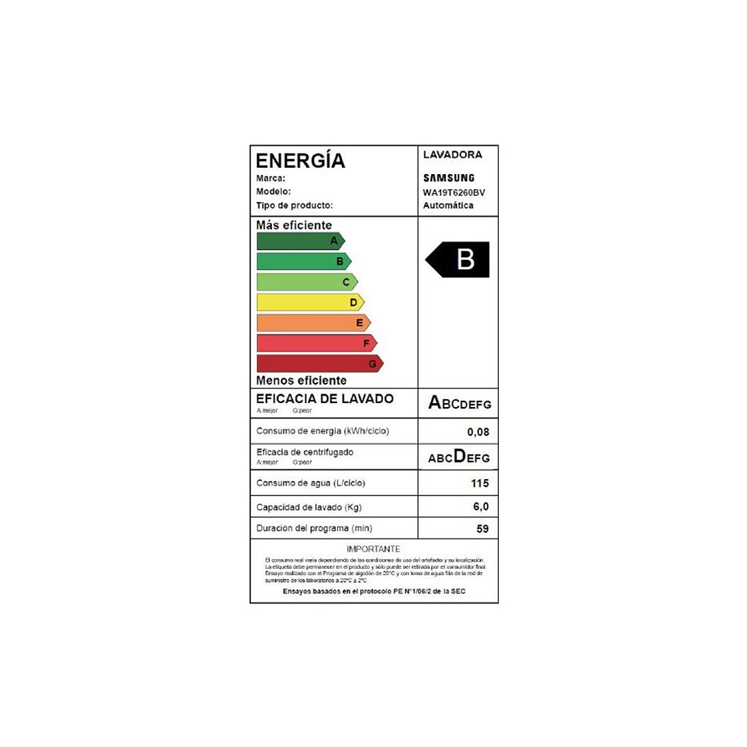 LAVADORA 19 KG WA19T6260BW/ZS