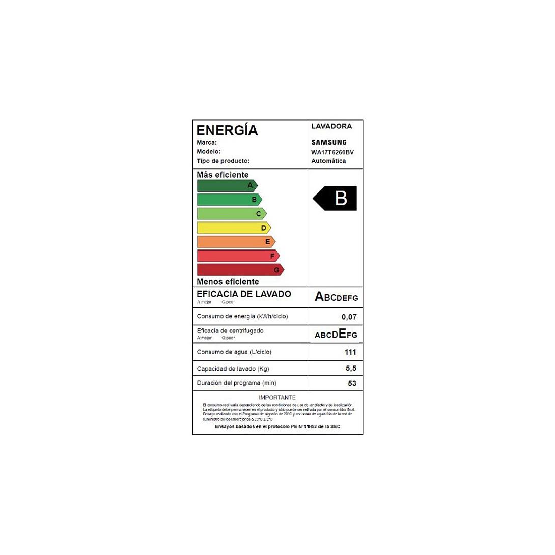 LAVADORA AUTOMATICA 17 KG WA17T6260BW/ZS