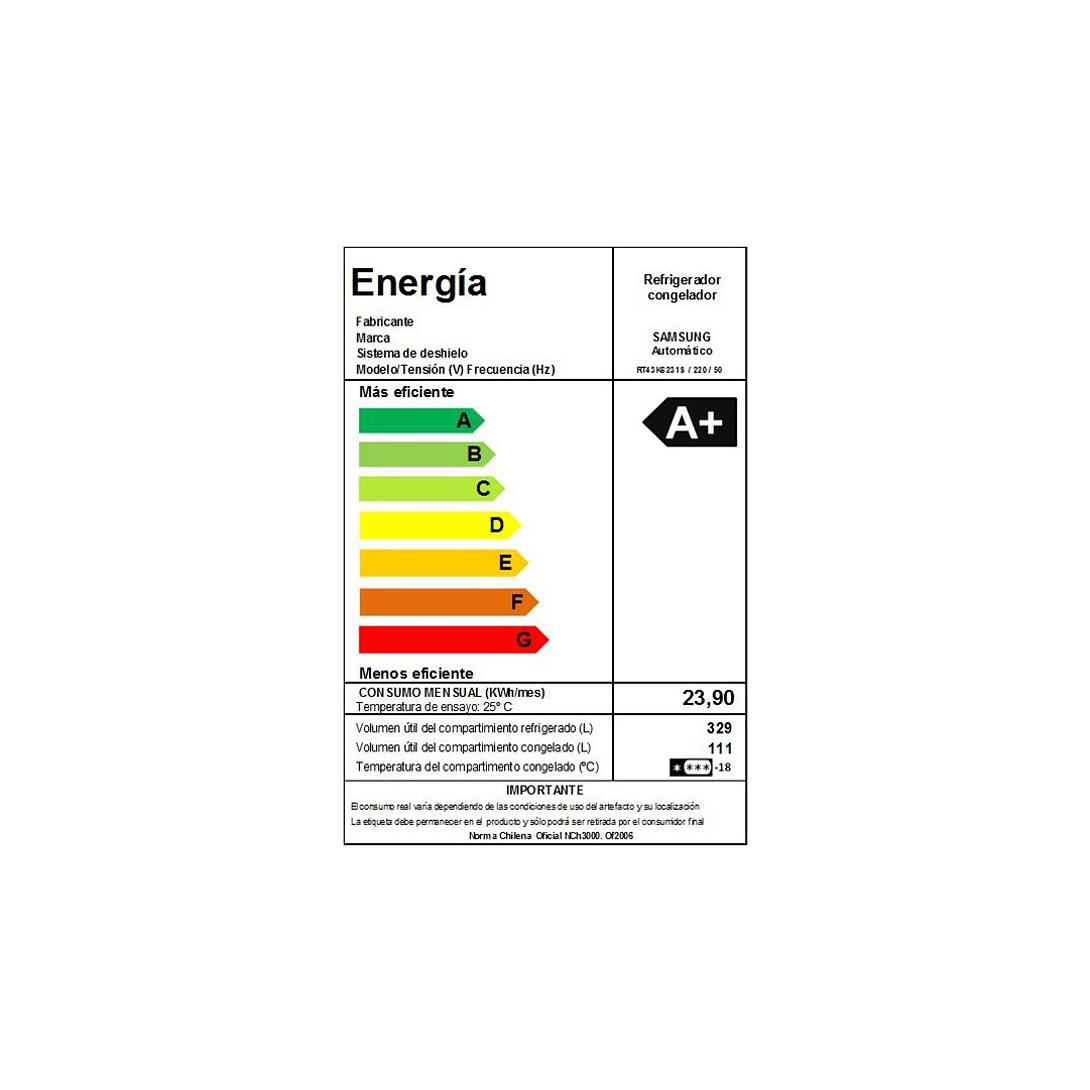 REFRIGERADOR NO FROST 440LTS RT43K6231SL/ZS SILVER