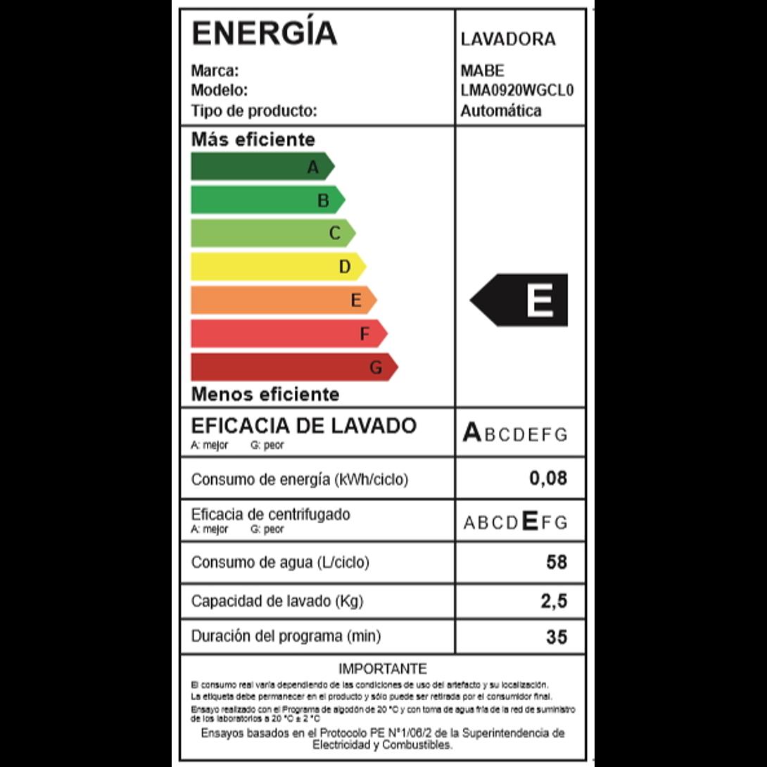 LAVADORA 9.5K LMA0920WGCL0