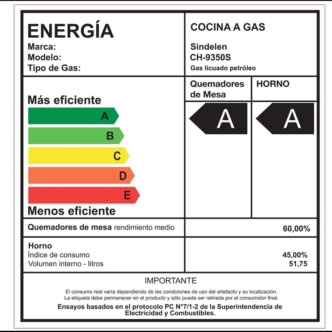 COCINA A GAS 4 QUEMADORES CH-9350 SINDELEN