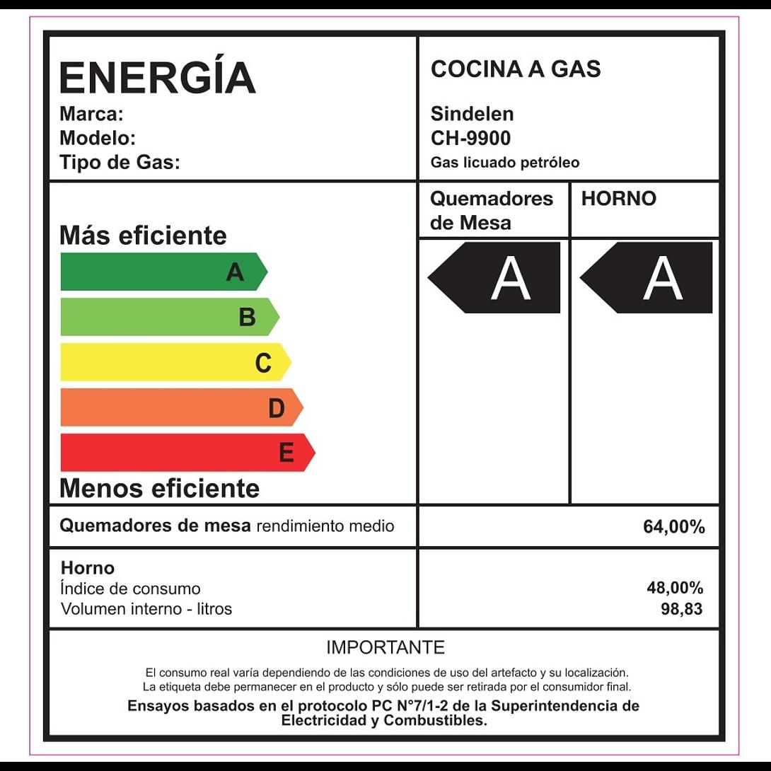 COCINA A GAS 6 QUEMADORES CH-9900SI-1 SINDELEN
