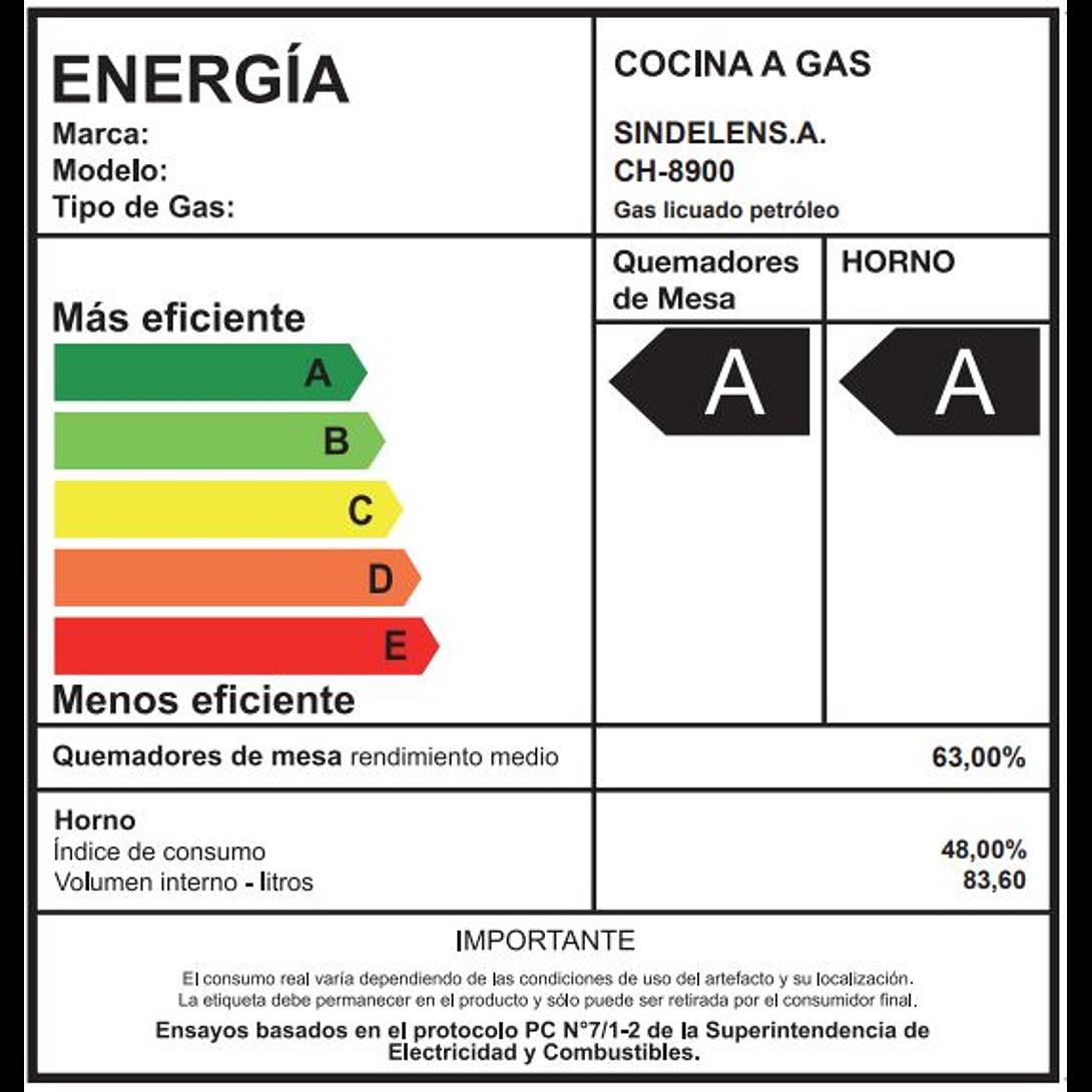 COCINA A GAS 5 QUEMADORES SINDELEN CH-8900IN