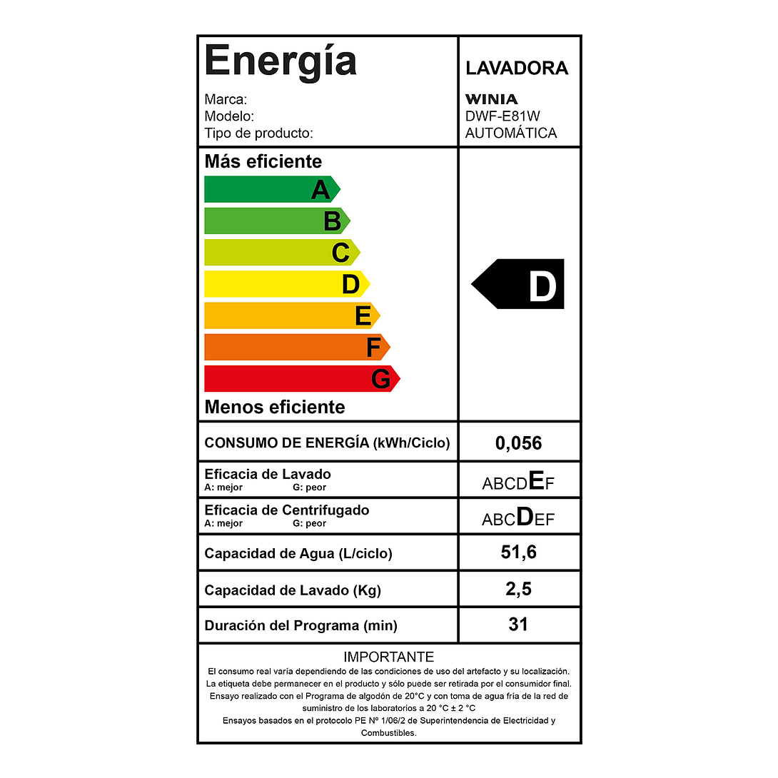 LAVADORA 8 KG WINIA DWF-E81W