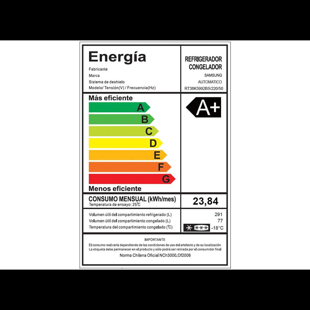 REFRIGERADOR NO FROST 390 LTS SAMSUNG RT38K5992BS/ZS