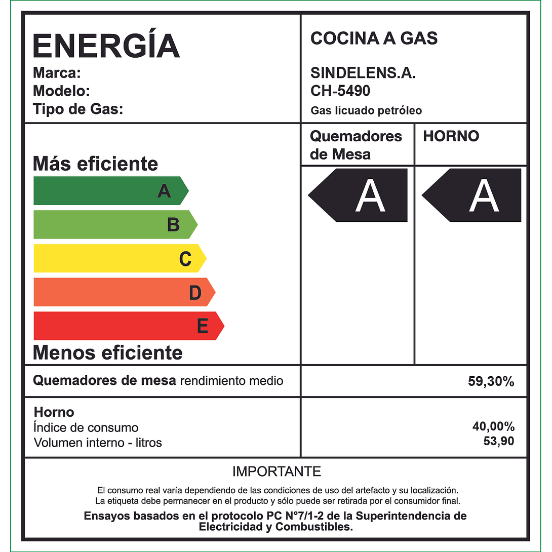 COCINA A GAS 4 QUEMADORES CH-5490NI SINDELEN