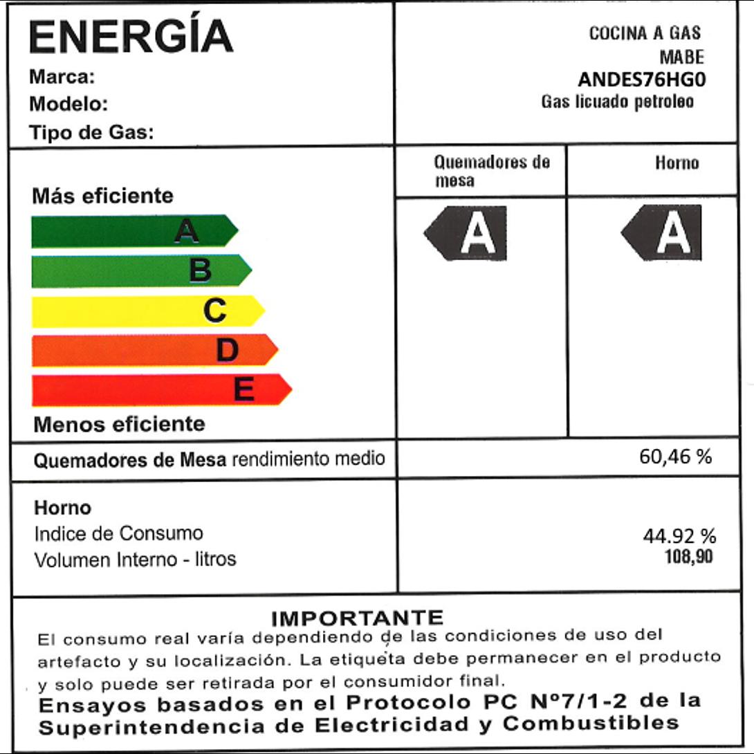 COCINAS A GAS 6 QUEMADORES ANDES76HG0 MABE