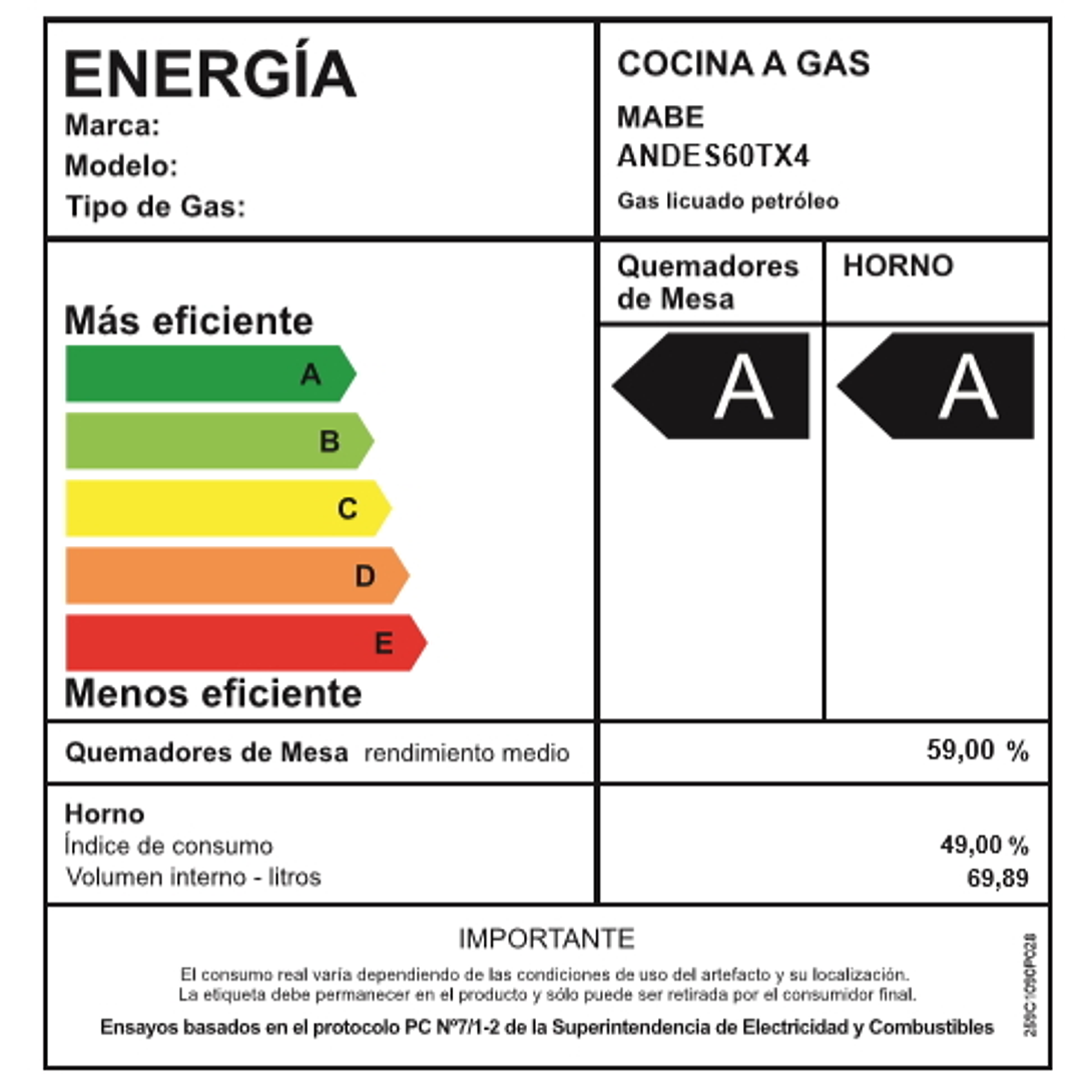 COCINA A GAS 4 QUEMADORES ANDES60TX4 MABE
