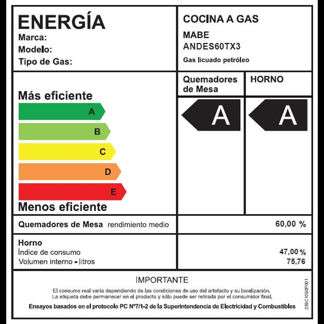 COCINA A GAS 4 QUEMADORES ANDES 60-TX3 MABE